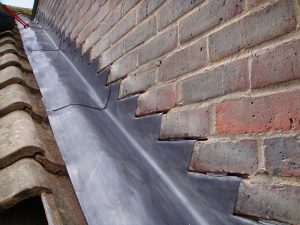 Photo of lead roof flashing